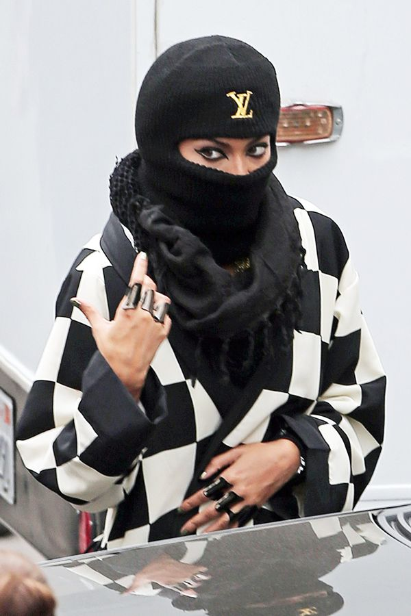 incognito: bey rocks vuitton ski mask..