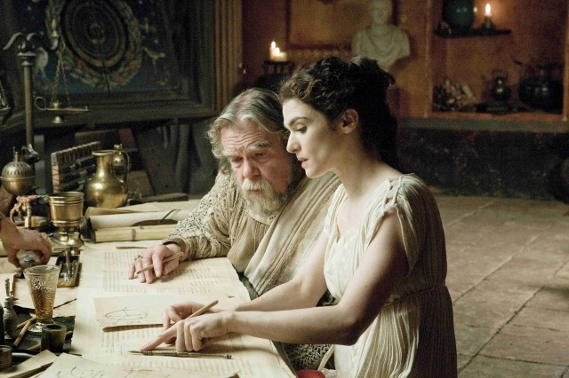 Scene from the film Agora with Rachel Weisz & Michael Lonsdale