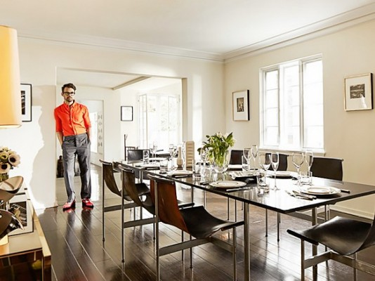 PHOTO: Eszter and David for InStyle A marble-topped LaVerne table designed by famed modernist architect Craig Ellwood is the focal point of stylist Brad Goreski's Los Angeles dining room, but we must say we love those leather sling chairs, too.