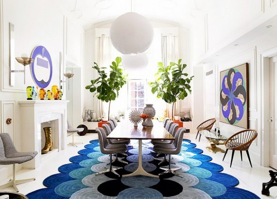 PHOTO: Richard Powers  Iconic interior designer and potter Jonathan Adler and his partner Simon Doonan's New York dining room is fun and fabulous, filled with cheeky accents and statement furniture.