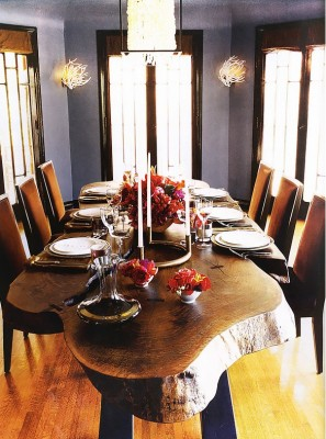 PHOTO: O at Home  The dining room in Grey's Anatomy star Kate Walsh's former four-bedroom Mediterranean home, which was featured in O at Home in 2007, has a rustic modern sensibility with a live-edge dining table, a capiz-shell pendant, and velvet dining chairs.