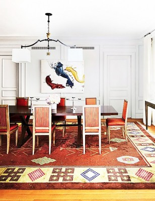 PHOTO: Bjorn Wallander for Architectural Digest  Nina Garcia's Upper East Side Apartment The dining room in fashion editor and Project Runway judge Nina Garcia's Upper East Side apartment is, unsurprisingly, as chic as she is. It's hard to decide whether the abstract James Nares painting or the graphic rug steal our attention more—both are to die for.