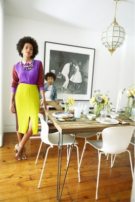 PHOTO: Paul Costello for ELLE  Solange Knowles' Brooklyn pad reflects her taste in fashion: cool, casual, and totally unique. We love her rustic wood dining table and her spirited dancing photograph!