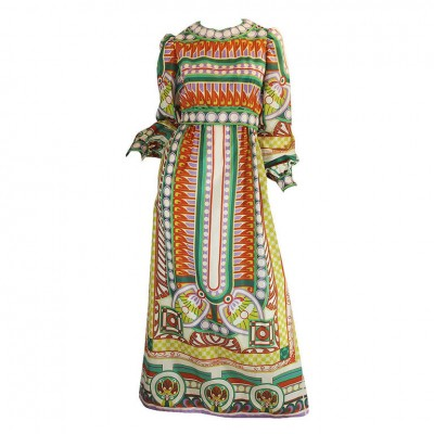 1960's tribal print maxi by malcolm starr