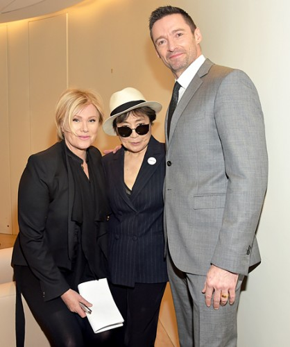 who know hugh jackman was that tall?!? hugh with yoko ono {center} and his wife