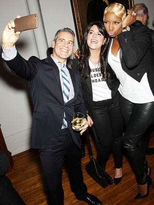 andy cohen, monica lewinsky and nene leakes selfie..