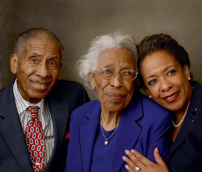 """My foundation from my family,"" says Lynch, pictured here with her parents, Lorenzo and Lorine Lynch, ""was watching my father never back down from a fight locally."""