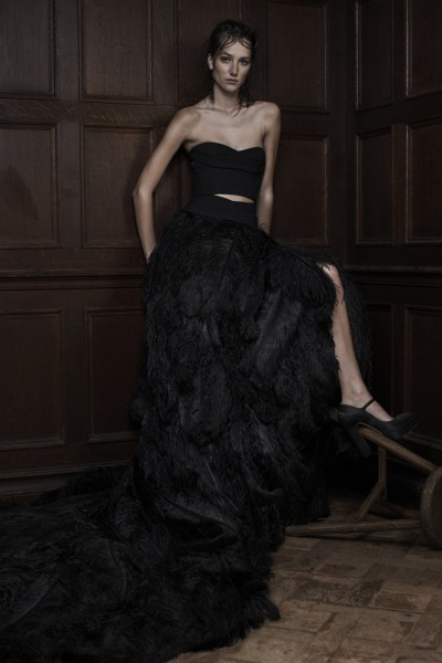 Vera-Wang-Spring-2016-black-crop-top-wedding-dress-with-feather-skirt