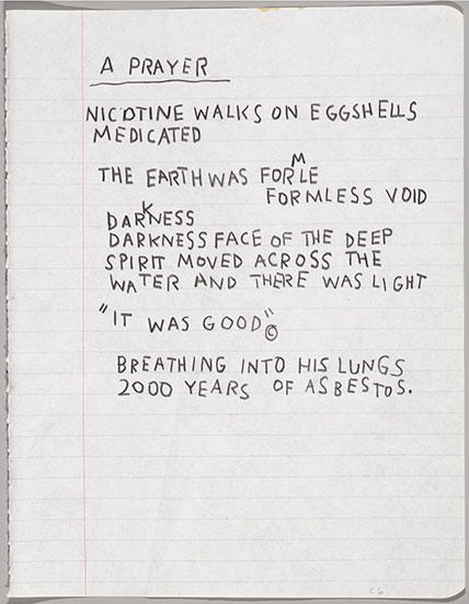 Jean-Michel Basquiat (American, 1960–1988). Untitled Notebook Page, circa 1987. Wax crayon on ruled notebook paper, 95⁄8 x 75⁄8 in. (24.5 x 19.4 cm). Collection of Larry Warsh. Copyright © Estate of Jean-Michel Basquiat, all rights reserved. Licensed by Artestar, New York. Photo: Sarah DeSantis, Brooklyn Museum