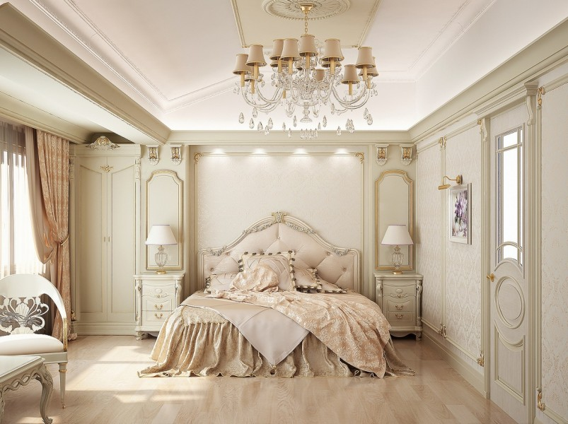 awesome-darkslategray-gold-blue-bedroom-design-royal-colors-contemporary-white-color-themed-vintage-beige-frame-century-chandelier-furniture-glamorous-vint