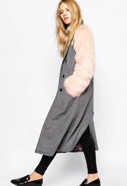 story of lola wool coat w/faux fur sleeves $163.00