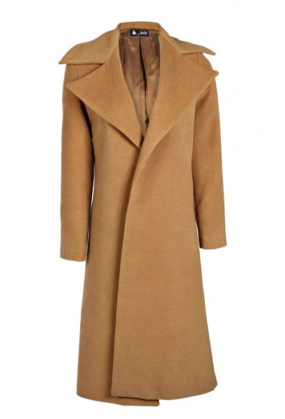 camel coat by boohoo $88