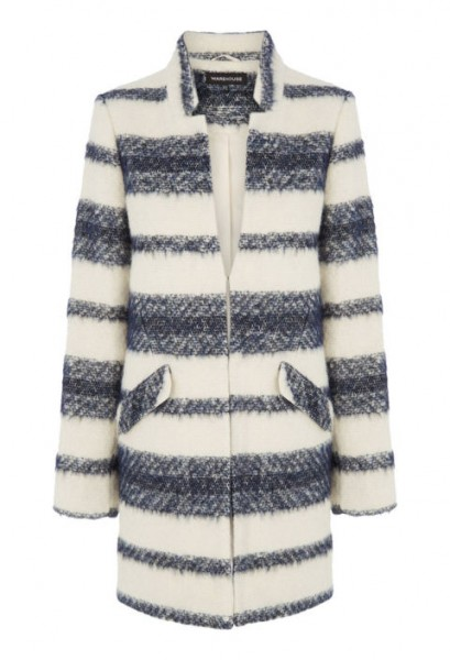 warehouse wool-blend striped coat, $160