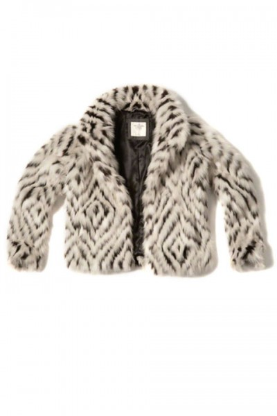 abercrombie + fitch patterned faux fur $72.00