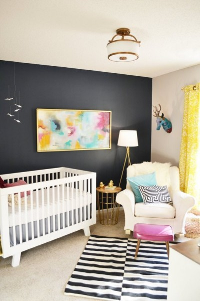 baby girl nursery2 black accent wall