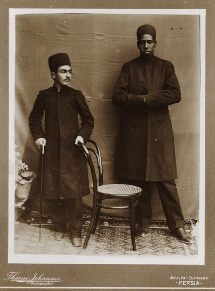 Gholam Hoseyn Mirza Masoud, one of Zell-e-Soltan's sons, with his personal African slave, Julfa, Isfahan, 1880s Photograph: Thooni Johannes/Institute for Iranian Contemporary Historical Studies, Tehran, Iran