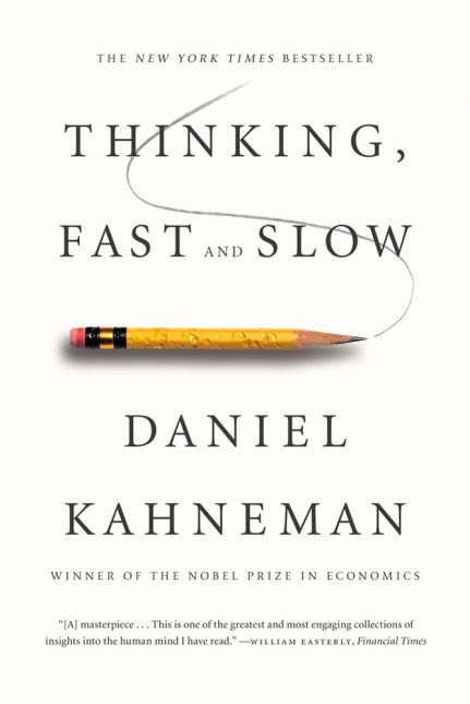Thinking, Fast and Slow, Daniel Kahneman, the renowned psychologist and winner of the Nobel Prize in Economics, takes us on a groundbreaking tour of the mind and explains the two systems that drive the way we think. System 1 is fast, intuitive, and emotional; System 2 is slower, more deliberative, and more logical. The impact of overconfidence on corporate strategies, the difficulties of predicting what will make us happy in the future, the profound effect of cognitive biases on everything from playing the stock market to planning our next vacation—each of these can be understood only by knowing how the two systems shape our judgments and decisions. Engaging the reader in a lively conversation about how we think, Kahneman reveals where we can and cannot trust our intuitions and how we can tap into the benefits of slow thinking. He offers practical and enlightening insights into how choices are made in both our business and our personal lives—and how we can use different techniques to guard against the mental glitches that often get us into trouble.