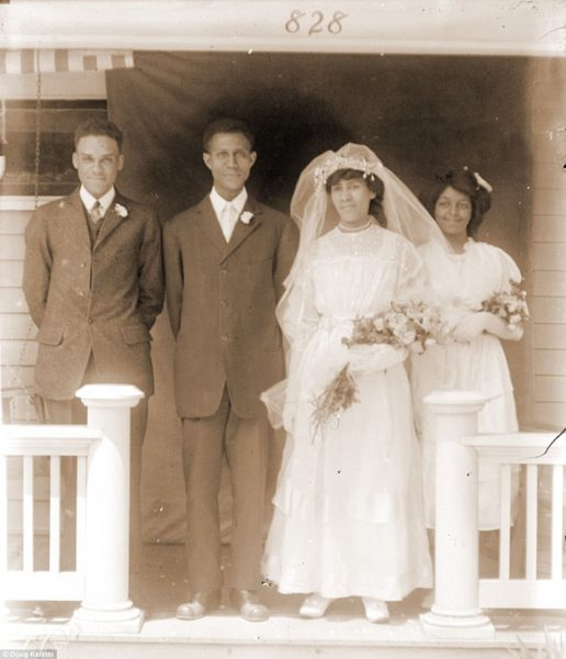 Luther and Ida Allen, center, on their wedding day in 1912. Luther (1885-1969) was a prominent member of Lincoln's Prince Hall Masons and worked as a chauffeur for the Lincoln Star newspaper publisher. Luther was also among the black leaders from Omaha and Lincoln in 1929 who met with the governor to alleviate tensions after a racial incident in North Platte. His wife Ida (1887-1983) was the daughter of Reverend George Maston and worked as a maid at the Miller and Paine store. The newlyweds are pictured at their home, 828 B Street, in Lincoln
