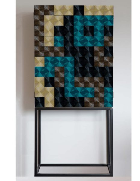 Violeta Galan walnut, steel and straw Sybarite cabinet