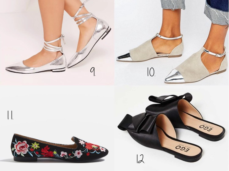 High shine lace up flat shoes silver, $17.00 at Missguided. 10. ASOS Leeds  Pointed Ballet Flats, $34.00 at ASOS. 11. Saffron Embroidered Slippers,  $45.00 at ...